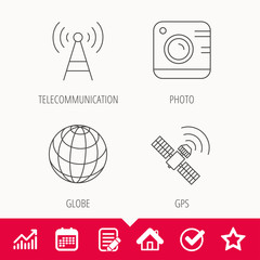 Photo camera, globe and gps satellite icons. Telecommunication station linear sign. Edit document, Calendar and Graph chart signs. Star, Check and House web icons. Vector