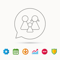 Family icon. Male, female and child sign. Calendar, Graph chart and Cogwheel signs. Download and Shield web icons. Vector