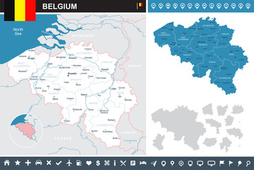 Belgium - infographic map and flag illustration