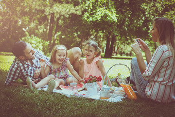 Happy family enjoying in picnic together. Family in meadow. Mother taking self-picture.