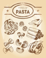 Different types of authentic Italian pasta - tagliatelle, rotelli, penne, annelli, cannelloni, farfalle, pipe rigate, pappardelle. Hand drawn set. Vector illustration.
