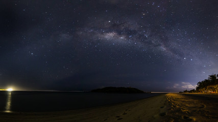 Milky way over Maldives beach