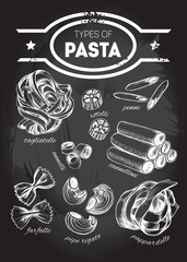 Different types of authentic Italian pasta - tagliatelle, rotelli, penne, annelli, cannelloni, farfalle, pipe rigate, pappardelle. Hand drawn set. Vector illustration on the blackboard.
