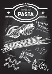 Different types of authentic Italian pasta - conchiglioni, stelline, fusilli bucati, spaghetti, cavatappi, fusilli, trottole. Hand drawn set. Vector illustration on the blackboard.