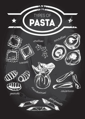 Different types of authentic Italian pasta - ravioli, stelline, tortellini, gnocchi, sacchettini, casarecce, garganelli. Hand drawn set. Vector illustration on the blackboard.