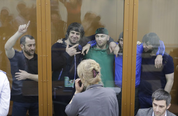 Bakhayev, Eskerkhanov, Shadid Gubashev, Anzor Gubashev and Dadayev, convicted of involvement in the killing of Russian opposition leader Boris Nemtsov, attend a court hearing in Moscow