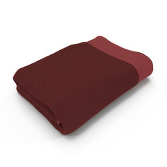 Red Towel isolated on white. 3D illustration, clipping path