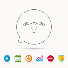 Uterus icon. Ovary sign. Gynecology health symbol. Calendar, Graph chart and Cogwheel signs. Download and Shield web icons. Vector