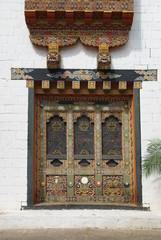 Buddhist images and decor at Punakha Dzong, Bhutan