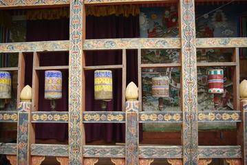 Buddhist prayer wheels in Bhutan