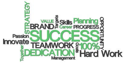 success concept typography with relevant buzzwords