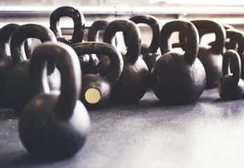 Kettlebells on floor in gym