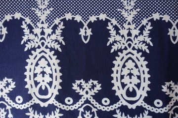 Dark blue fanric with sophisticated vintage print