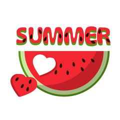 Watermelon red slice summer heart love isolated icon design positive funny flat vector illustration on white background