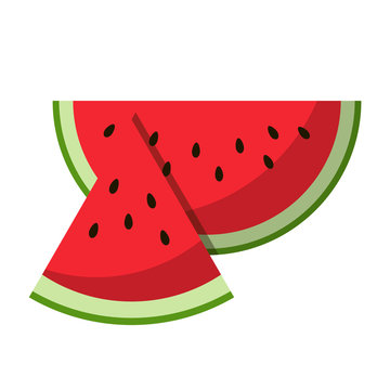 Watermelon red slice summer isolated icon design positive funny flat vector illustration on white background