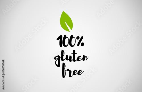 100 gluten free green leaf handwritten text white background