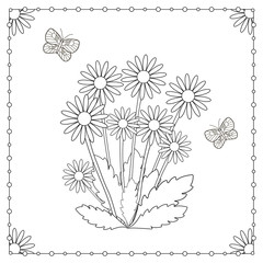 Coloring page from the flowers and butterflies.