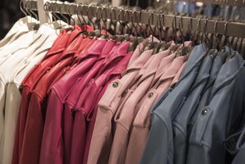Women's leather jackets on hangers