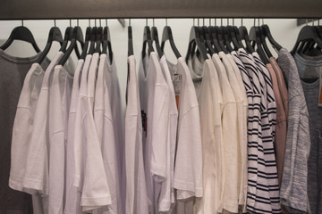 Men's t-shirts on hangers