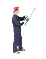 Gardener hold lawn mower on white