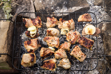 Pork meat roasting on the grill. Meat on the coals, barbeque close up
