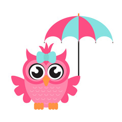 cartoon owl girl with umbrella
