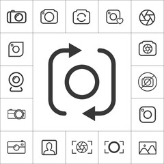 Front camera icon. thin line photography set. Vector illustration