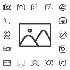 photo gallery icon. thin line photography set. Vector illustration