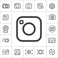 action photo camera icon. thin line photography set. Vector illustration