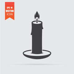 Candle icon in flat style isolated on grey background.