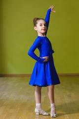 Little cute girl dancing ballroom dance