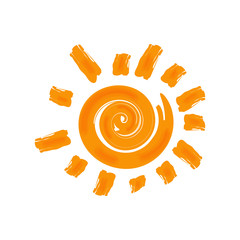 Vector hot sun icon. Isolated on white background.
