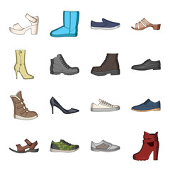 Shoes, style, heel and other types of shoes. Different shoes set collection icons in cartoon style vector symbol stock illustration web.