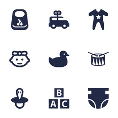 Set Of 9 Kid Icons Set.Collection Of Nappy, Smock, Duck And Other Elements.