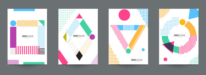 Modern trendy background cover posters, banners, flyers, placards. Set of abstract minimal template design for branding, advertising in retro geometric memphis style. Vector illustration. EPS 10.