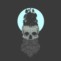 Human skull with beard and mustache in retro vintage style. Design template for tattoo, print, cover. Vector illustration.