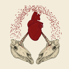 Two unicorn skull with red human heart in retro vintage style. Design template for tattoo, print, cover. Vector illustration.