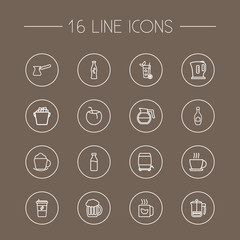 Set Of 16 Drinks Outline Icons Set.Collection Of French Press, Dairy, Champagne And Other Elements.