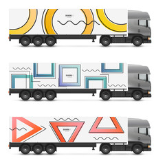 Branding design truck or van in modern geometric memphis style. Vehicles mock up for advertising, business and corporate identity. Set templates for transport.