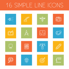 Set Of 16 Creative Outline Icons Set.Collection Of Property Plan, Knowledge, Palette And Other Elements.