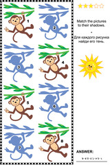 Visual puzzle or picture riddle: Match monkeys hanging on liana to their shadows. Answer included.