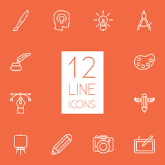 Set Of 12 Creative Outline Icons Set.Collection Of Dslr Camera, Paintbrush, Idea And Other Elements.