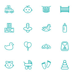 Set Of 16 Baby Outline Icons Set.Collection Of Baby, Toys, Balloon And Other Elements.