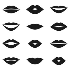 Different women's lips vector set