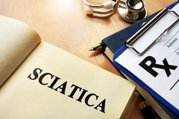 Book with name sciatica. Medical concept.