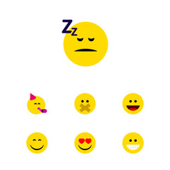 Flat Icon Gesture Set Of Asleep, Smile, Laugh And Other Vector Objects. Also Includes Hush, Joy, Face Elements.