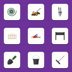 Flat Icon Garden Set Of Hacksaw, Trowel, Pump And Other Vector Objects. Also Includes Barbecue, Container, Mower Elements.