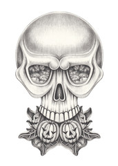 Art surreal skull .Hand pencil drawing on paper.