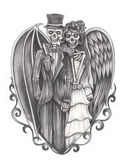 Art devil and angel skull wedding.Hand pencil drawing on paper.