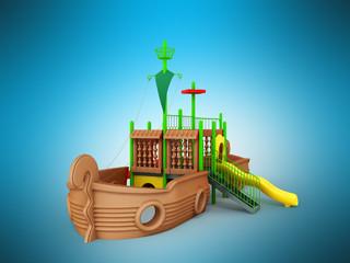 Deurstickers Brazilië Playground for children ship brown yellow green 3d render on blue background